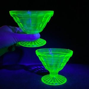 Uranium Glass Pair of Sherbet Glasses